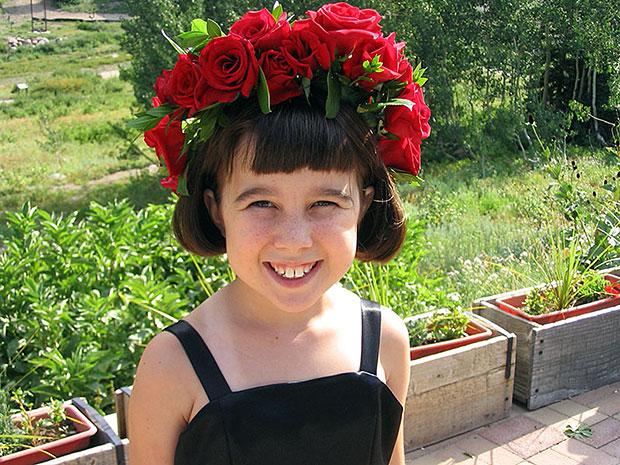 Emma w/Floral Garland Headpiece