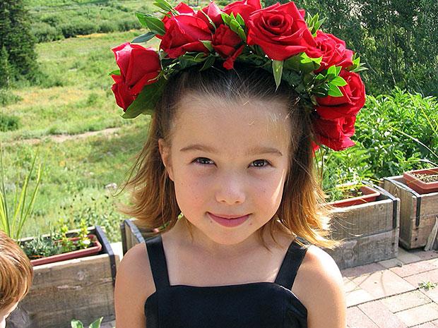 Zoë w/Floral Garland Headpiece