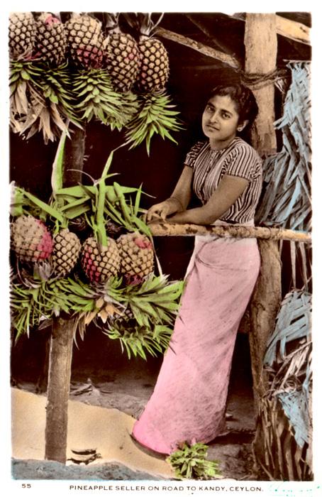 Pineapple Seller on Road to Kandy, Ceylon