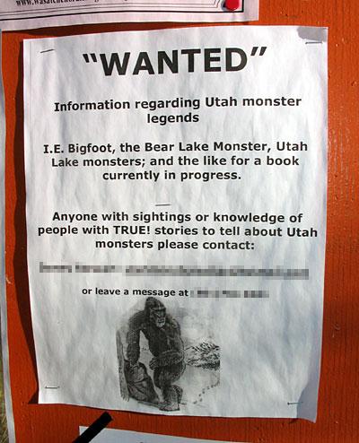 Street Poster - Still Wanted: Information Regarding Utah Monster Legends
