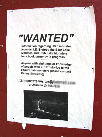 Street Sign - Wanted: Information Regarding Utah Monster Legends